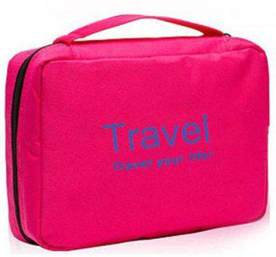 Swadec Cosmetic Toiletry Shaving Jewelry Hanging Bag Organizer - Pink Travel Toiletry Kit(Pink)