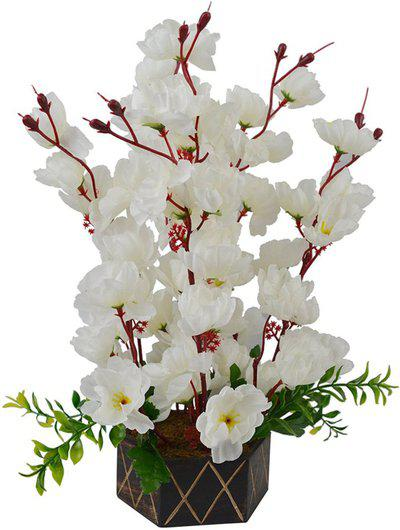 Hyperbole White Assorted Artificial Flower with Pot(12 inch, Pack of 1)