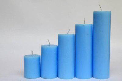 Toygully Blue Pillar Candle(Blue, Pack of 5)