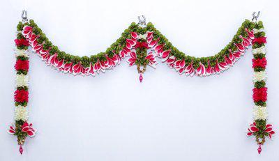 Daedal crafters Champa door set(Pink & White) Toran(Fabric)