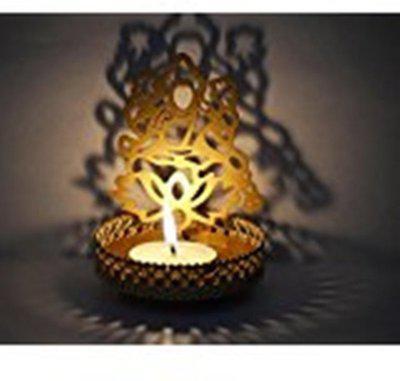Funcart Shadow LAKSHMI Ji Tea Light Candle Holder for Home Dcor,diwali,puja decoration Candle(Multicolor, Pack of 1)