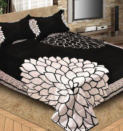 Akshaan Texo Fab Velvet Double King Floral Bedsheet(Pack of 2, Black)