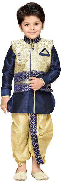 AJ Dezines Boys Festive & Party Ethnic Jacket, Kurta and Dhoti Pant Set(Blue Pack of 1)