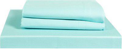 Just Linen 210 TC Cotton Double Plain Bedsheet(Pack of 3, Pale Turquoise)