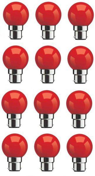 Syska 0.5 W Standard B22 LED Bulb(Red, Pack of 12)