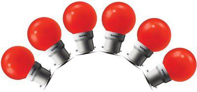 Wipro 0.5 W Standard B22 LED Bulb(Red, Pack of 6)