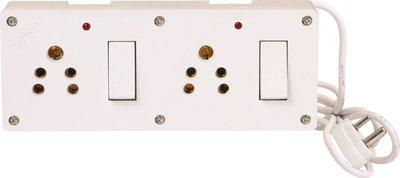 Bahul Power Strip extension multi outlet board Fitted with 2 Switches And 2 Sockets With 2 Metre Wire With 5 Amp Plug 2 Socket Surge Protector(White)