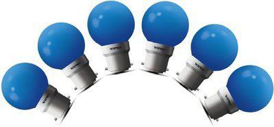 Wipro 0.5 W Standard B22 LED Bulb(Blue, Pack of 6)