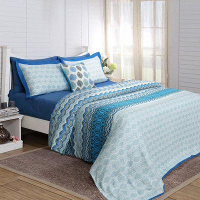 Maspar Queen Cotton Duvet Cover(Blue)