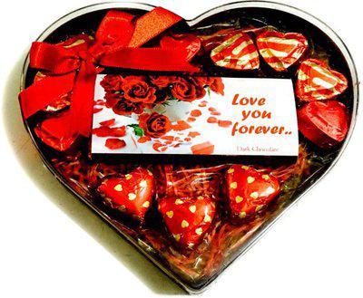 Mystik Valentines Day Heart Shape Exotic Gift Box 1 Chocolate Bar & 12 Pc Chocolate Bars, Brittles(230 g)