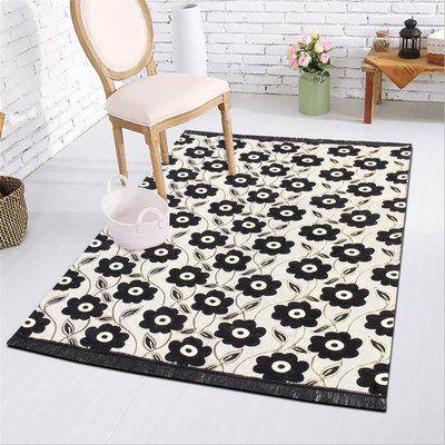 DURGA CREATION Black Chenille Carpet(152 cm X 214 cm)