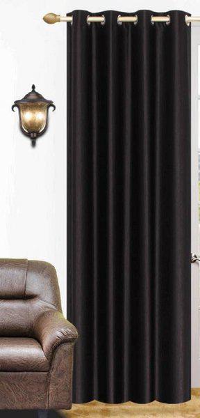 Panipat Textile Hub 213 cm (7 ft) Polyester Door Curtain Single Curtain(Plain, Black)