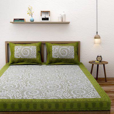 Rajasthan Decor 144 TC Cotton Double King Motifs Bedsheet(Pack of 1, WHITE N GREEN)