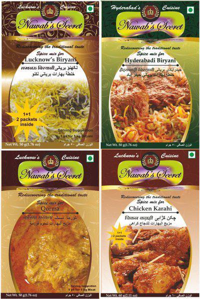 Nawab's Secret Lucknow & Hyderabadi BIryani,Qorma, Chicken Karahi(4 x 50 g)