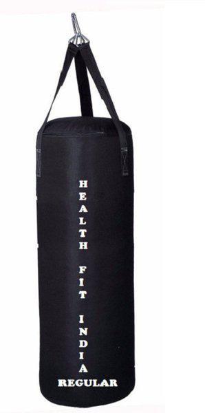 HEALTH FIT INDIA Regular 3.0 Feet Long, SRF - STANDARD Material, Black Color, Unfilled with Hanging Straps Hanging Bag(3.0, 36 kg)