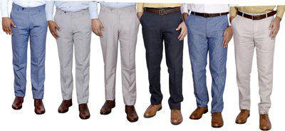 IndiWeaves Regular Fit Men Grey, Cream, Cream, Grey, Blue, White Trousers
