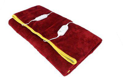 Home Elite Plain Double Electric Blanket(Polyester, Maroon)