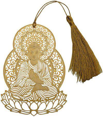 Skywalk Art & Craft Lord Buddha Metal Bookmark with Tassel,Pendant Charm, School Supplies Page Holder Charm - Golden Color Bookmark Bookmark(Buddha, Gold)
