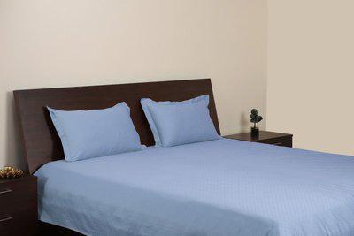 Blue Dahlia 300 TC Cotton Double King Plain Bedsheet(Pack of 1, Blue Fog)