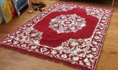 Stella Creations Maroon Cotton Carpet(121 cm X 183 cm)