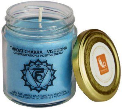 Resonance Meditation - Throat Chakra Natural Wax Medium Jar Candle(Blue, Pack of 1)