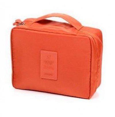 ShopAis Cosmetic Makeup Case Wash Organizer Storage Pouch Travel Toiletry Kit Travel Toiletry Kit(Orange)