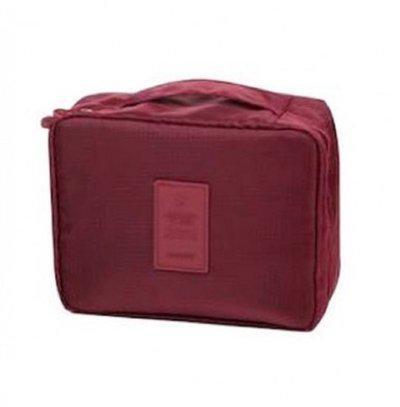 ShopAis Cosmetic Makeup Case Wash Organizer Storage Pouch Travel Toiletry Kit Travel Toiletry Kit(Maroon)