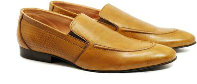 CLOG LONDON Genuine Leather Slip On Shoes Party Wear For Men(Tan)