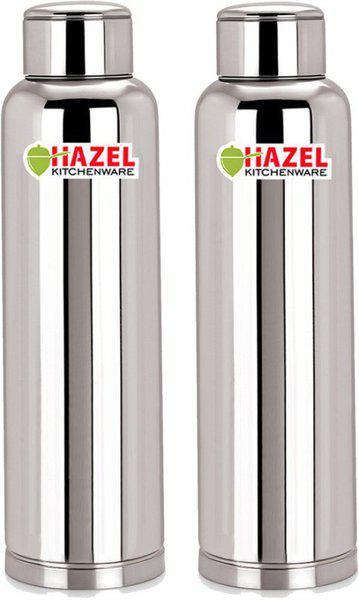 Hazel Stainless Steel Water Bottle Set of 2, 900 ml, Leakproof, Silver 900 ml Bottle(Pack of 2, Silver)