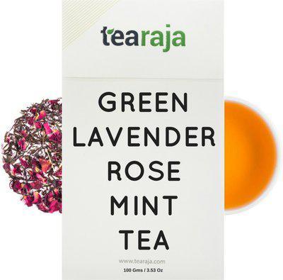 Tearaja Green Lavender Rose Mint Tea Lavender, Rose, Mint Herbal Tea Vacuum Pack(100 g)