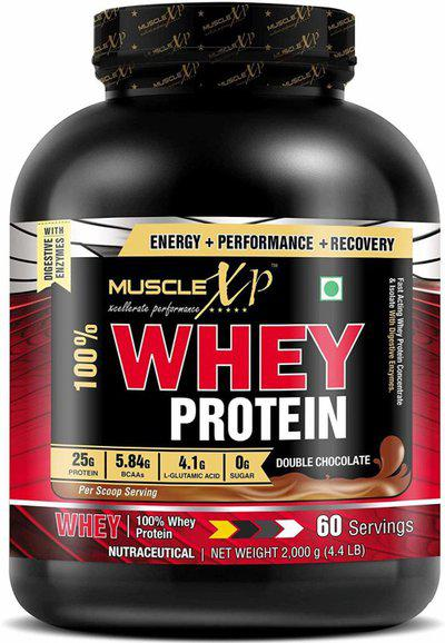 MuscleXP 100% Whey Protein New Gold Standards - With Digestive Enzymes Whey Protein(2 kg, Double Rich Chocolate)