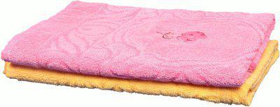Jass Home Decor Cotton 200 GSM Bath Towel(Pack of 2, Pink, Yellow)