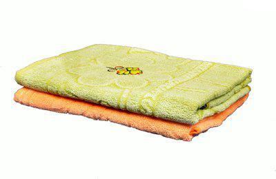 Jass Home Decor Cotton 200 GSM Bath Towel(Pack of 2, Green, Orange)