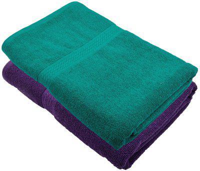 Akshaan Texo Fab Cotton 450 GSM Bath Towel(Pack of 2, Purple, Green)