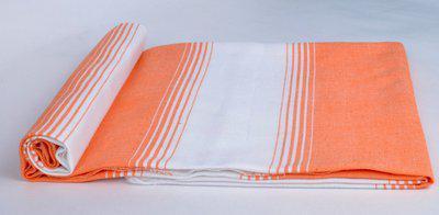 Sathiyas Cotton 500 GSM Bath Towel(Orange, White)