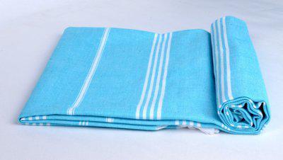 Sathiyas Cotton 500 GSM Bath Towel(Blue, White)