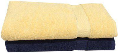 Mandhania Cotton 450 GSM Bath Towel(Pack of 2, Yellow, Dark Blue)