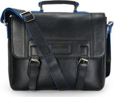Phive Rivers Men Black Solid Leather Messenger Bag