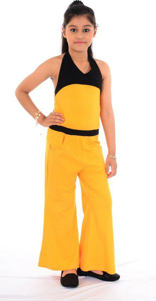 Naughty Ninos Girls Cotton Yellow Jumpsuit for 2 to 12 Years