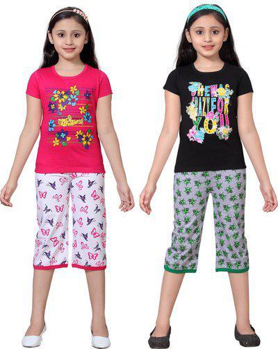 Sini Mini Girls Casual Top Capri(Multicolor)
