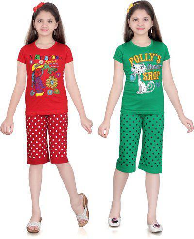 Sini Mini Girls Casual Pyjama Pyjama(Green)