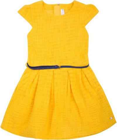 U.S. Polo Assn. Yellow Cotton Short Sleeves Above Knee Princess Frock ( Pack of 1 )