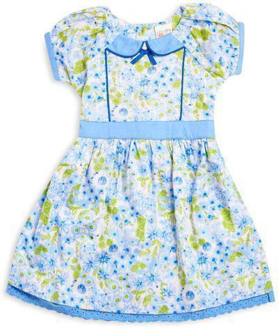 Mini Klub Girls Midi/Knee Length Casual Dress(Blue, Half Sleeve)