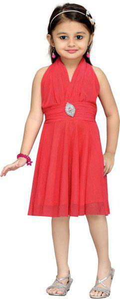 Aarika Girls Midi/Knee Length Party Dress(Pink, Sleeveless)
