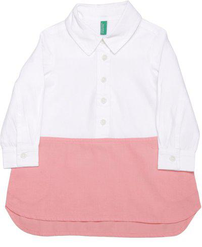 United Colors of Benetton Girls Casual Dress(White, Full Sleeve)