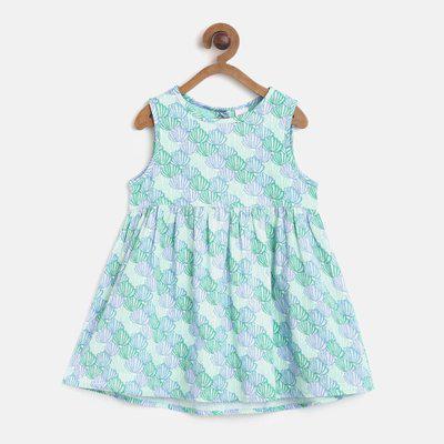 Mini Klub Girls Midi/Knee Length Casual Dress(Multicolor, Half Sleeve)