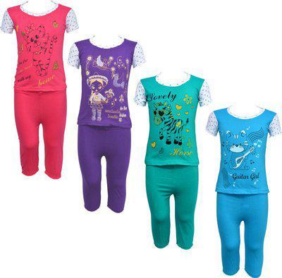 Eazy Trendz Kids Nightwear Girls Printed Cotton Blend(Multicolor Pack of 4)