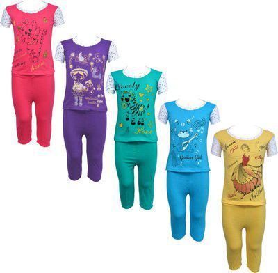 Eazy Trendz Kids Nightwear Girls Printed Cotton Blend(Multicolor Pack of 5)