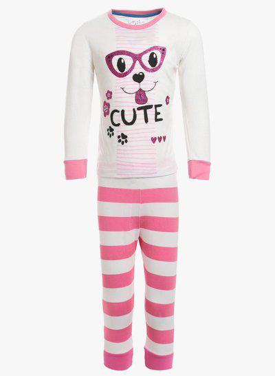 Lazy Shark Kids Nightwear Girls Printed Cotton Blend(White Pack of 2)