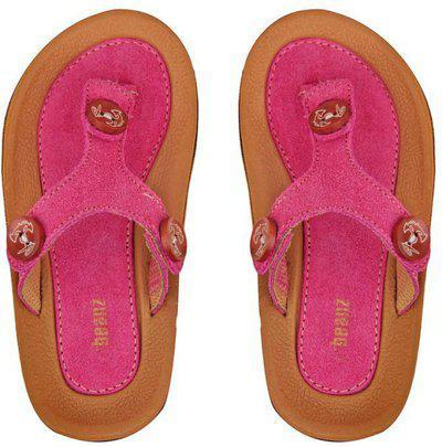 Beanz Girls Velcro Strappy Sandals(Orange)
